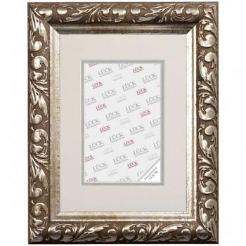 Barockrahmen Gemmingen mit Passepartout 60x80 cm (50x70 cm) | Silber | Antireflexglas
