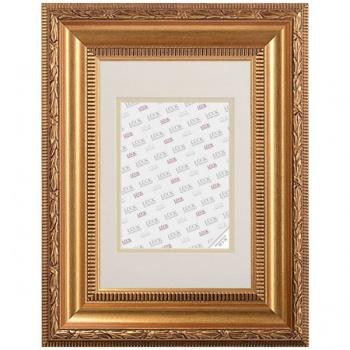Barockrahmen Rohrdorf mit Passepartout 50x70 cm (40x60 cm) | Gold | Antireflexglas