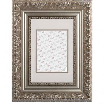 Kunststoffrahmen Rastatt mit Passepartout 50x60 cm (40x50 cm) | Silber | Antireflexglas