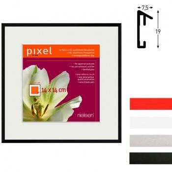 Alurahmen Pixel inkl. Passepartout 22x22 cm (14x14) | Silber matt | Normalglas