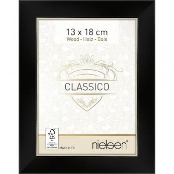Holzrahmen Classico 13x18 cm | Schwarz-Silber | Normalglas