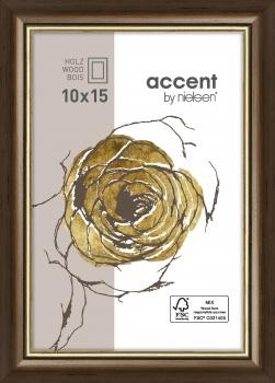 Holzrahmen Ascot 10x15 cm | Dunkelbraun-Gold | Normalglas